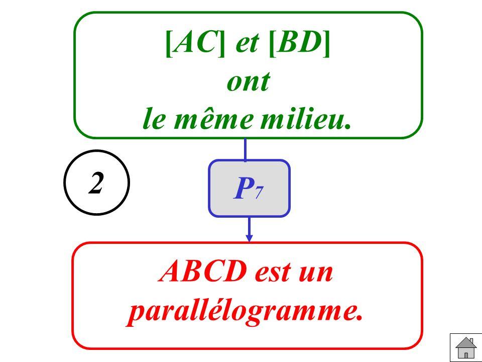 [AC] et [BD] ont le même milieu. ABCD est un parallélogramme. 2 P7
